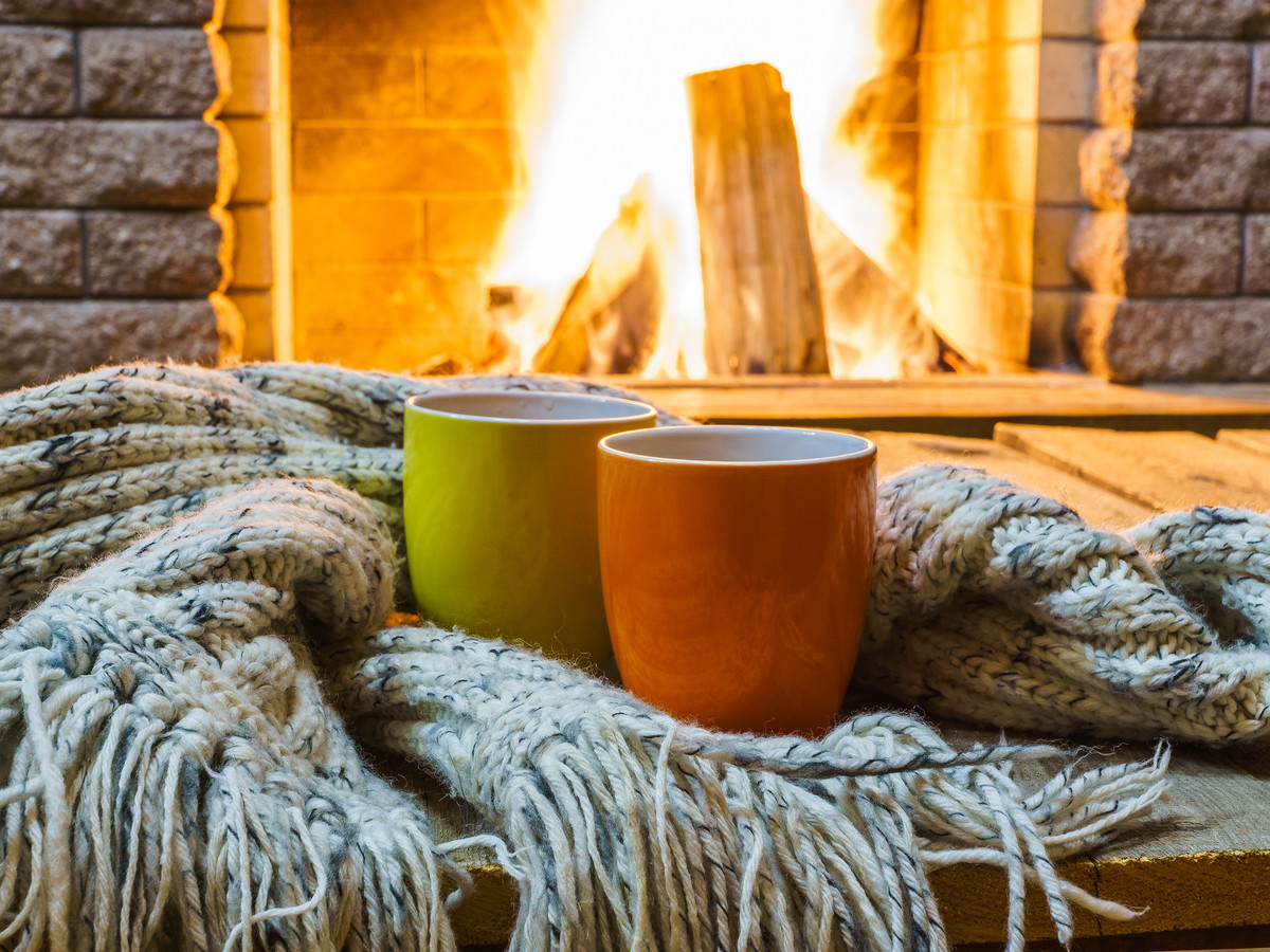 fall fireplace coffee