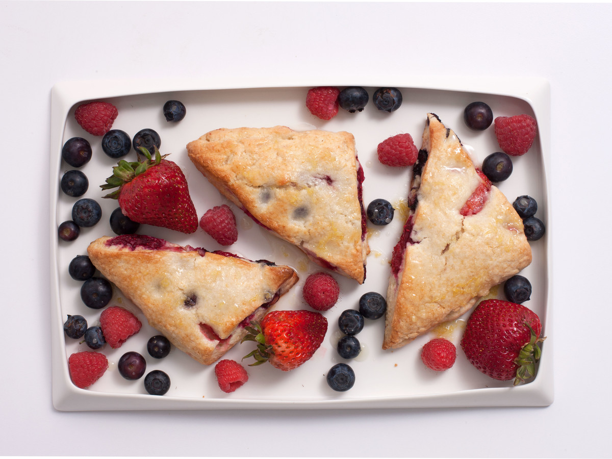 Mixed Berry Scones With Lemon Ginger Glaze