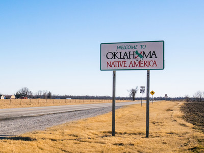 Getty Welcome To Oklahoma Sign