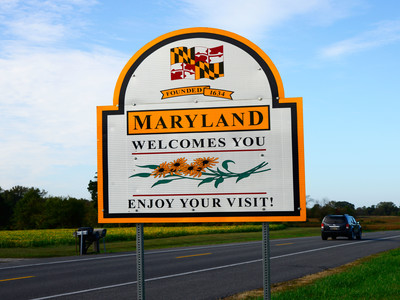 Getty Maryland Welcome Sign