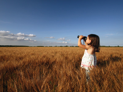 Little Girl Looking In Field