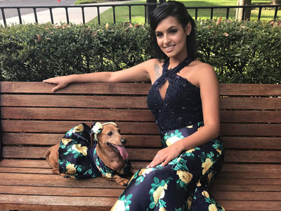 Florida Teen Brenda Cross Made Wiener Dog Matching Prom Dress