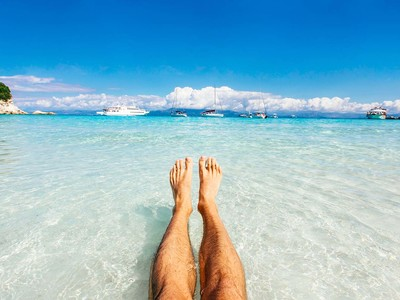 Beach Summer Vacation Ocean Relax Feet in Sand
