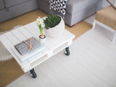 White coffee table in living room
