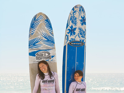 Amy Bickers and Son at Surf Camp