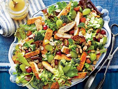 Dixie Chicken Salad with Grapes, Honey, Almonds, and Broccoli