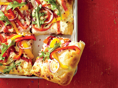 Sheet Pan White Pizza with Salami and Peppers