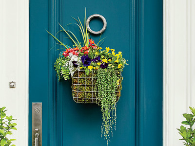 Wire Basket Wreath on Door