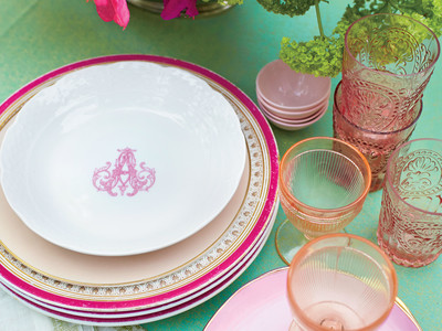 Pink and Green Tablescape