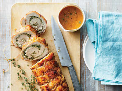 Pork Loin Stuffed with Spinach and Goat Cheese
