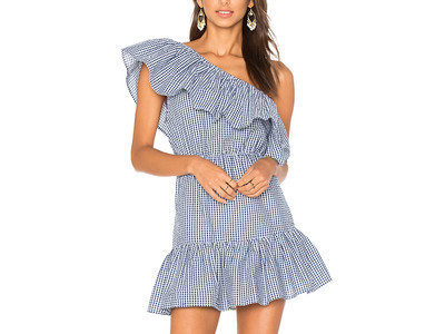 Ruffle One Shoulder Gingham Dress