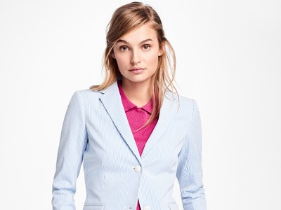 Brooks Brothers Stripe Seersucker Two Button Blazer