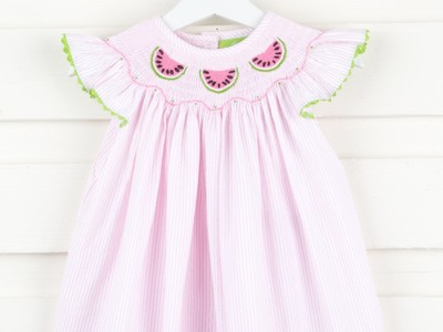 Pink Striped Watermelon Smocked Dress Seersucker
