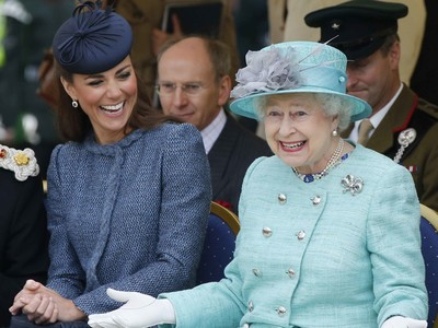 Kate and the queen laughing