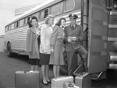 Ladies Boarding Greyhound Bus