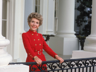 Nancy Reagan in Red Dress for White House Portrait