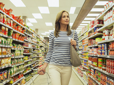 Woman Walking Down Grocery Store Aisle