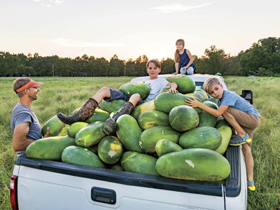 Bradford Kids with Watermelons in Truck