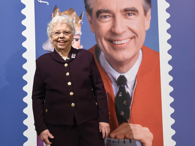 Joanne Rogers and with Reveal of Mr. Rogers Postage Stamp