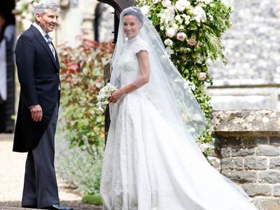 Pippa Middleton and her father at her wedding