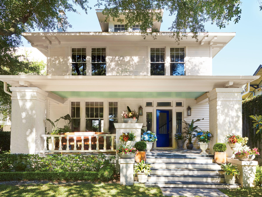 Meg Lonergan Houston Craftsman with White Exterior