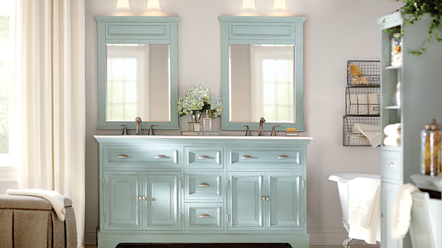 Blue Vanity Double Sinks