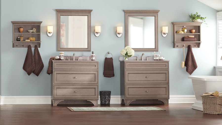 Warm U0026 Contemporary With Lots Of Storage. The Albright Vanity Cabinet In  Winter Gray From Home Decorators Collection ...