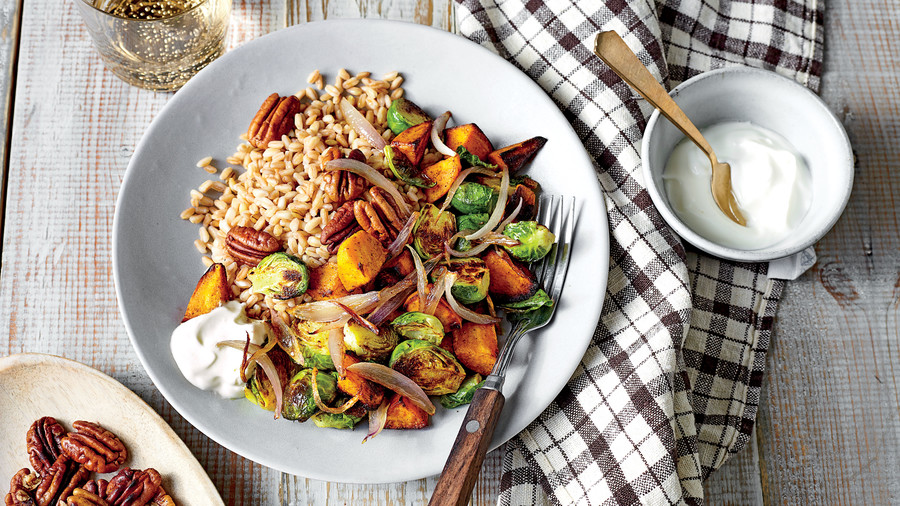 Farro Bowl with Curry-Roasted Sweet Potatoes and Brussels Sprouts