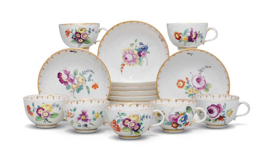 Seven Tournai porcelain teacups and eight saucers, circa 1780