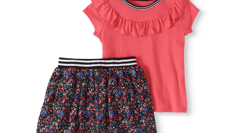 RX_1906 Back to School Clothes_Ruffle Top and Floral Printed Lace Skooter 2-Piece Set