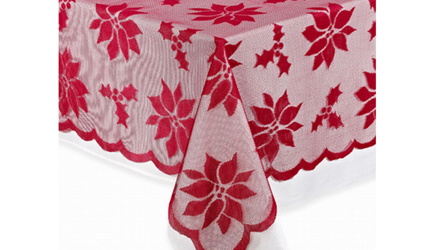 Red Poinsettia Lace Fabric Tablecloth