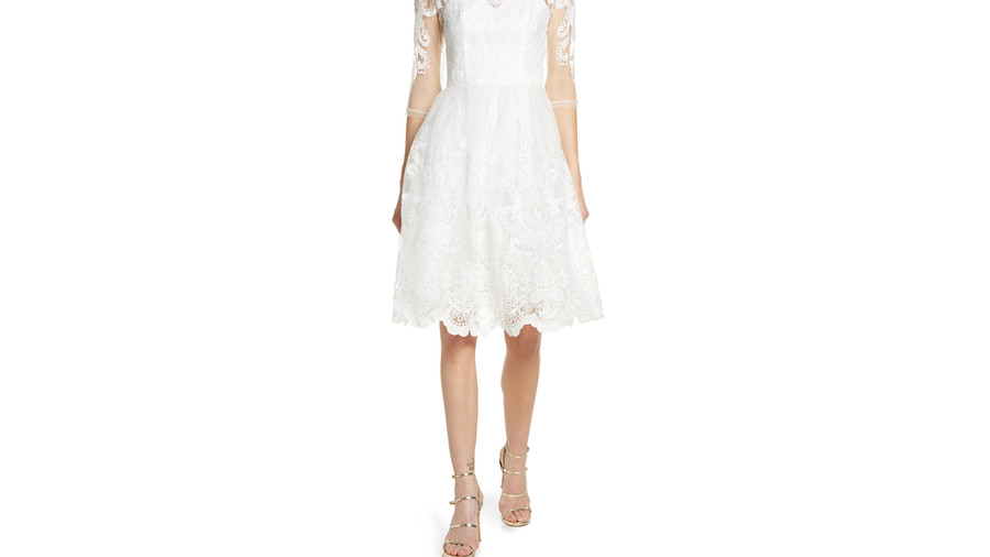 Flora Embroidered Tulle Cocktail Dress