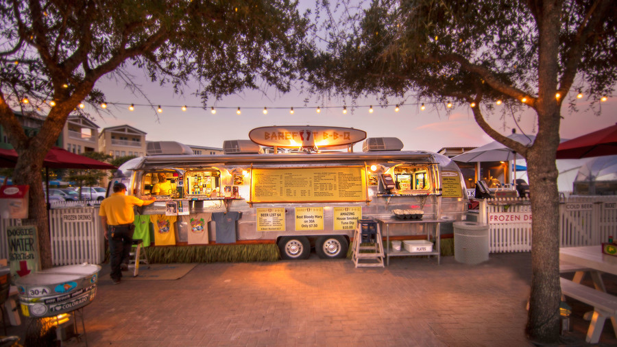 An airstream trailer turned food truck in the main square of Seaside, Florida, on 30A.