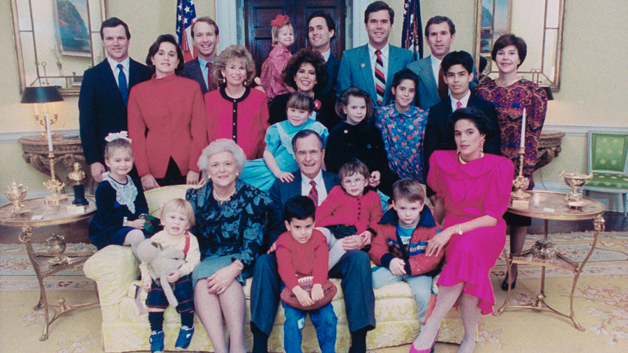Portrait of the President George H.W. Bush family in the White House, Washington DC, January 21, 1989. Seated adults are, First Lady Barbara Bush, President George H.W. Bush, and daughter-in-law Margaret Bush (wife of Marvin); Standing adults in back r...