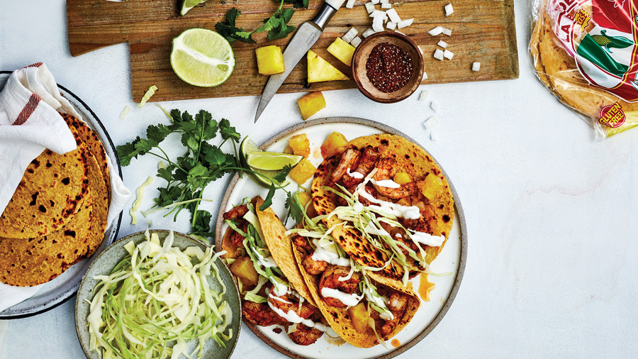 Spicy Shrimp and Pineapple Tacos