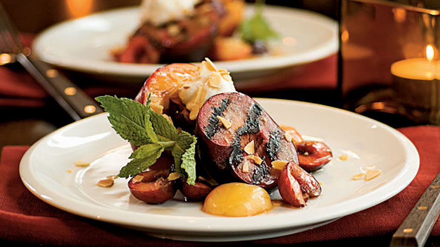 Grilled Nectarines and Plums with Vanilla Bean Syrup