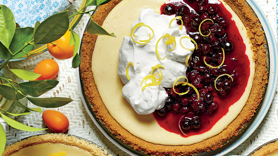 Lemon-Buttermilk Icebox Pie with Lemon-Blueberry Topping