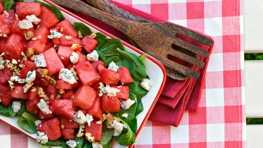 Watermelon, Mache, and Pecan Salad Recipe
