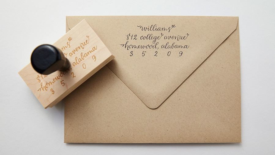 Great gifts for the easter hostess southern living calligraphy return address stamp negle Choice Image