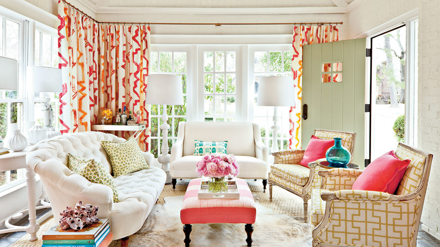 Mix Instead Of Match Fabrics. Decorating Sunrooms With Color