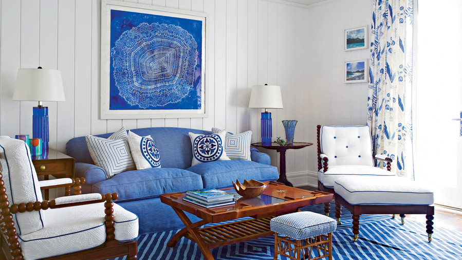 Use Bold Blue Accessories 106 Living Room Decorating Ideas  Southern