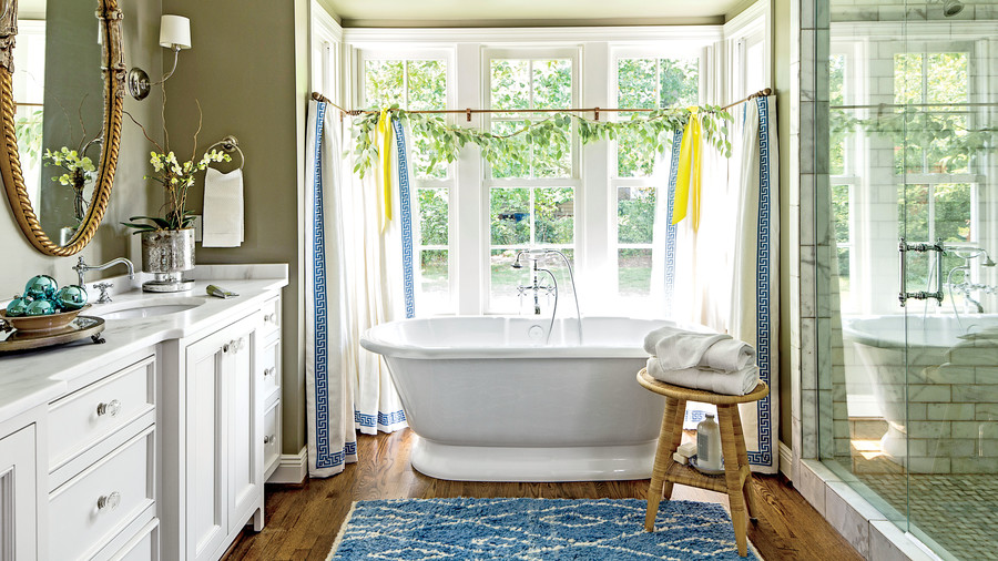 Blue and Green Master Bathroom