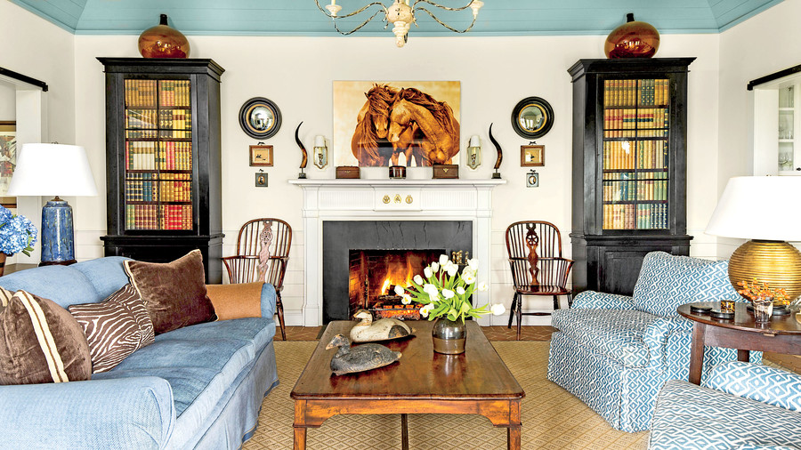 blue and white living room - Decorating Ideas For Living Room With Fireplace
