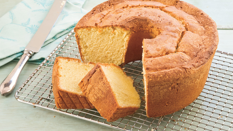 Over-mixing your pound cake batter.