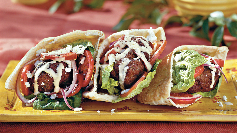 Ground Beef Recipes: Gyro Burgers With Tahini Sauce