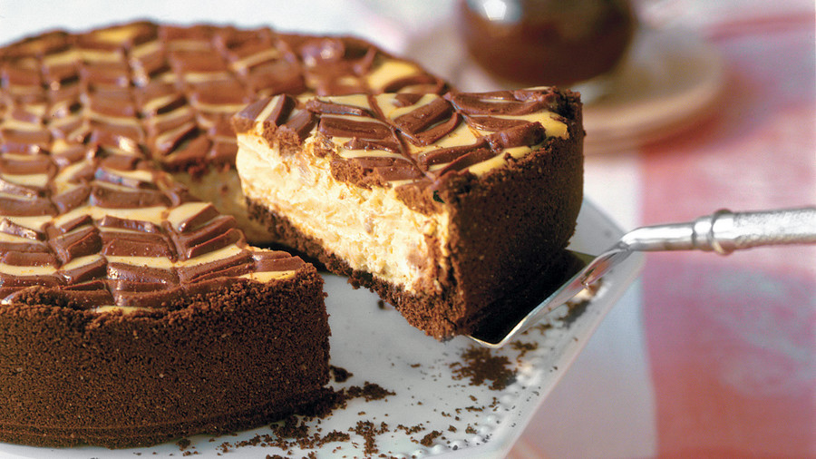 Lightened Chocolate-Coffee Cheesecake with Mocha Sauce