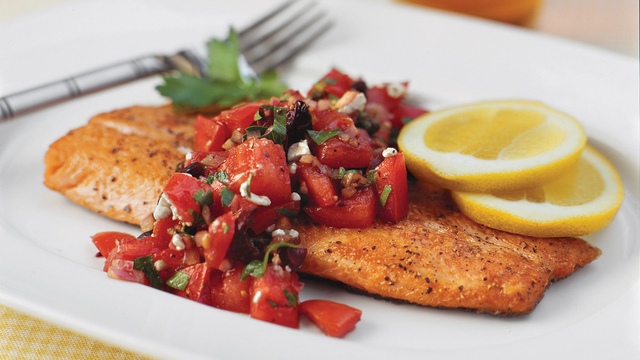 Seafood Dinner Party Ideas Part - 50: Pan-Seared Trout With Italian-Style Salsa