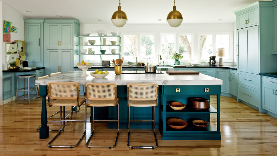 Modern family kitchen southern living for Large family kitchen