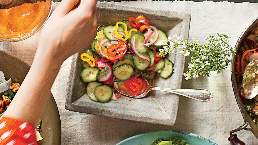 Sweet-Hot Cukes and Peppers