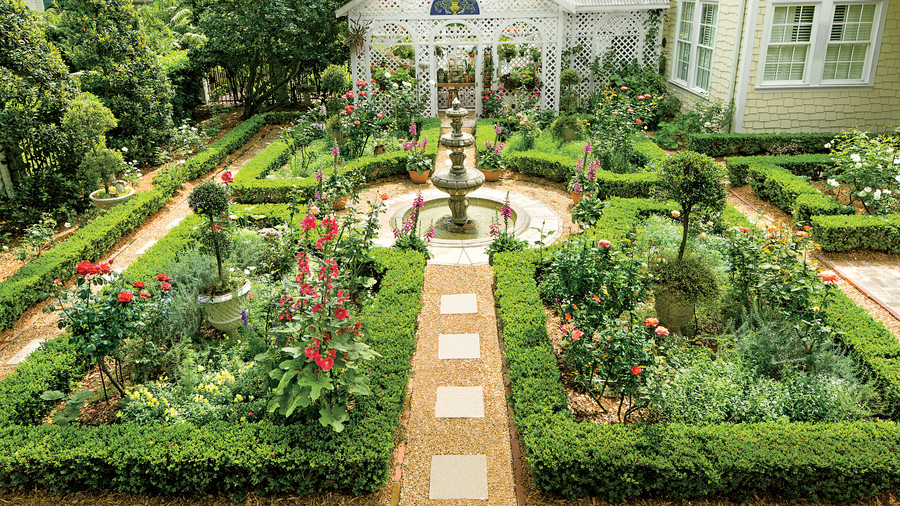 Classic courtyards southern living for Formal english garden designs